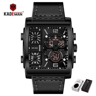 KADEMAN Men Watches 3 Time Zones Display Sports Digital Square Quartz Watch Waterproof Male Wristwatches Relogio Masculino
