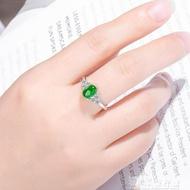 戒指和田玉戒指女正宗s925純銀天然翡翠波菜綠百搭活口碧玉戒指送證書 快速出貨