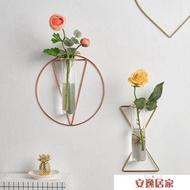 北歐ins貼墻綠植創意水培玻璃瓶試管掛墻花瓶裝飾品墻上壁掛花盆