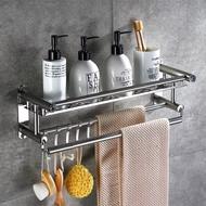 無痕不鏽鋼置物架 掛鉤/收納架/毛巾架 廚房衛浴掛勾層架 單層40cm