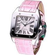 Cartier 卡地亞 SANTOS 100 女錶經典款 粉紅鱷魚皮帶