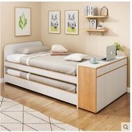 韓式多功能床 雙人榻榻米床上下鋪小戶型臥室子母床雙層床北歐家具真材實料廠家直營店收納床單人床雙人床上下鋪一套多功能床頭櫃