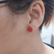 Traditional Ang ku kueh earrings