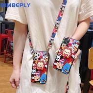 Dimbeply สำหรับ iPhone 11 11 PRO MAX การ์ตูน Soft Case ที่มีสายคล้องเชือกเส้นเล็ก + ที่วางโทรศัพท์สำหรับ iPhone x XR XS MAX ซิลิคอน TPU มอนสเตอร์ปกคลุมสำหรับ Apple 6 6 วินาที 7 8 บวก