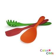 【COLOR COOK】輕巧實用矽膠三件組(撈麵杓28cm、刮刀27cm、飯杓22cm)
