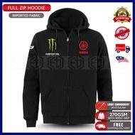 Zip Hoodie Yamaha Tech3 Monster Embroidery MotoGP Motorcycle Motosikal Superbike Racing Team Casual 125Z RXZ TZM SRL