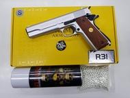 ปืนบีบีกันรุ่นR31 สีเงินค่ายArmy ประกับไม้แท้ ฟรีกระโหลก 1กระป๋อง+ ลูกเซรามิค 1000 นัด สินค้ามือ 1 เก็บเงินปลายทางได้