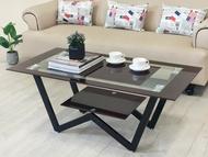 《達芙妮》大茶几 強化玻璃 不銹鋼腳 玻璃茶几 置物 !新生活家具! 樂天雙12