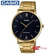 CASIO Standard นาฬิกาข้อมือผู้ชาย สายสแตนเลส รุ่น MTP-VT01G-1BUDF  (หน้าปัดดำ)