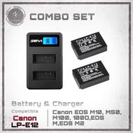 Combo Set : แบตกล้อง Canon LP-E12 2 ก้อน + แท่นชาร์จ 1 (แถมกล่องใส่แบตฟรี) สำหรับกล้อง Canon EOS M10, M50, M100, 100D,EOS M,EOS M2