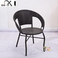 藤椅 陽台小藤椅子單人扶手靠背椅編織家用老人庭院單個休閒戶外藤編T