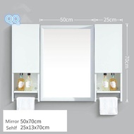 White Aluminum Alloy Bathroom Mirror Bathroom Wall-mounted Mirror Cabinet Bathroom Mirror with Shelf Cabinet Side Cabinet - intl