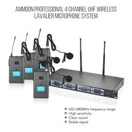 ammoon 4S Professional 4 Channel UHF Wireless Lavalier Lapel Collar Clip-on Microphone System 4 Mics 1 Wireless Receiver 6.35mm Audio Cable LCD Display for Karaoke Family Party Presentation Performance Public Address