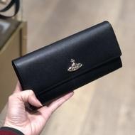 英國代購Vivienne Westwood 星球LOGO十字紋皮革按扣翻蓋長夾/皮夾/錢包 12卡 黑色