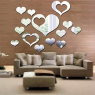 14Pcs/set Heart-shaped Mirror Wall Stickers 3D Removable Art Decoration Wallpapers Bedroom Living Room Background Accessories