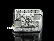 【永久流當品】《EGPS》鑽石戒指 天然鑽石 豪華 鑽戒 1.00CT 男戒 QL1946