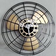 復古電風扇壁掛鐘 創意中式工業風造型做舊時鐘 餐廳酒吧KTV韓式燒烤創意美食居家擺飾