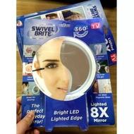 8倍LED放大鏡吸附式浴室化妝鏡 便攜led燈 化妝補妝鏡補妝燈隨身鏡美妝鏡打光鏡