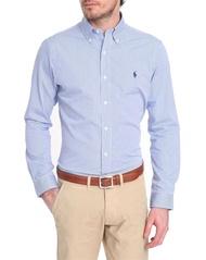 美國百分百【Ralph Lauren】長袖 襯衫 RL 男 POLO 小馬 條紋 上衣 藍色 白色 XL號 F153