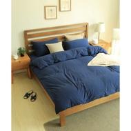 Namasté♡ MUJI風天竺棉素色床組 單色 寶藍色 藍色無印良品風格 四件純棉整組 床罩被套床單枕頭套