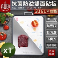 JOJOGO 日本熱銷316L不鏽鋼抗菌防溢雙面砧板 1入組