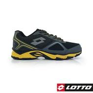 義大利第一品牌-LOTTO樂得 男款CROSS RUN 防潑水霸氣越野跑鞋 [0150] 黑【巷子屋】
