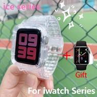 สายรัดข้อมือซิลิโคนยางนิ่มสำหรับApple Watch I Watch Series 5 4 3 2 1 Case Strap Sport Band Strap With Case 38Mm 40Mm 42Mm 44Mm