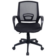 Black Executive Ergonomic Mesh Computer Office Desk Midback Chair with Arms Fabric Mesh Seat Backres