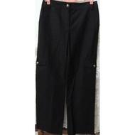 降價下殺【現貨】實拍👕Tulipian專櫃黑色細絨條紋多口袋造型設計100%棉質休閒長褲L號棉質舒適感