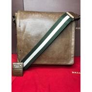『保證真品』BALLY包 二手 小牛皮 經典綠白織帶掀蓋斜背包 肩背包 斜背包