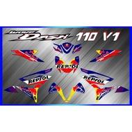 Aksesori Motosikal STICKER STRIPE MOTOR honda wave dash 110 V1  RED BULL