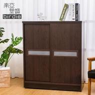 【南亞塑鋼】3尺雙拉門線條紋橫飾條塑鋼鞋櫃(胡桃色)