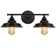 Bathroom Vanity Light, 2 Light Wall Sconce Fixture with Black Lampshades, Vintage Edison Wall Lamp Lighting for Bathroom Bedroom Farmhouse Living Room Mirror Cabinets Dressing Table