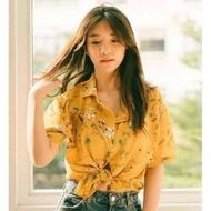 """เสื้อเชิ้ตhawaii ลายดอกแฟนซี ลายก้านแก้ว อก40"""" ยาว23 ผ้าชีฟองเกาหลี มีสีเหลืองเข้าแล้วจ้า"""