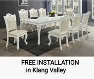 Q 10 Classical Design 1+8 Marble Dining Set / Classical Dining Set For 8 Persons / European Style 8 Seater Marble Dining Table Set / Marble Dining Table With 8 Chairs / Marble Dining Set / European Style Dining Set / Classical Design Dining Set (TCG)