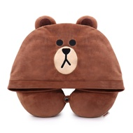 GARMMA LINE FRIENDS 連帽造型U型枕 熊大