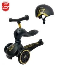 奧地利 Scoot & Ride Cool二合一飛滑步車/滑板車/安全帽(黑金)【六甲媽咪】
