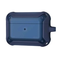 VAP Airpods pro雙色軍規防摔殼 LED顯示 霧透消光 鑰匙扣孔設計(藍藍)【VAP官方直營 現貨】