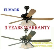 Elmark Ceiling fan with light kit & remote control 54'' (not including bulb)