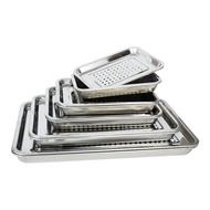 不鏽鋼濾油盤 304不鏽鋼長方形茶盤托盤家用餃子瀝水盤漏油盤過濾漏水瀝控油盤ab5514