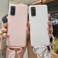Tali Rantai Lanyard Silikon Case untuk Samsung Galaxy A12 A42 A32 A52 A72 5G A02S A01 Inti Permen warna Sampul Belakang TPU