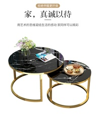 Coffee table tempered glass marble dining / badside table creative wrought iron round side balcony