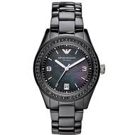 Emporio Armani Women's AR1423 Black Ceramic Case & Bracelet Crystal Bezel Mother-of-Pearl Dial Watch - Black