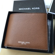 【Michael Kors】MK 男款 素色皮革 短夾 皮夾 咖啡色防刮皮革 名片卡夾 情人節禮物