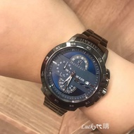 Lucky代購 Maserati瑪莎拉蒂手錶 時尚潮流計時男錶 大錶盤 防水日曆黑色不鏽鋼鏈石英錶R8873619001
