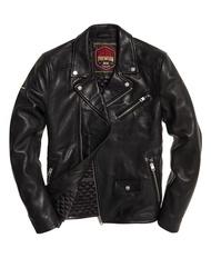 跩狗嚴選 特價代購 極度乾燥 Superdry Hero Biker 黑色 騎士 真皮外套 皮衣 翻領