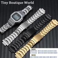 สายนาฬิกาข้อมือเหล็กสำหรับCasio G-SHOCK DW5600 GW-5000 5035 GWM-5610 สายโลหะกรณีตั้งสายสแตนเลส