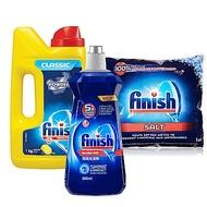 亮碟Finish-洗碗機軟化鹽(1kg)+洗滌粉劑(1kg)+光潔潤乾劑(500ml)