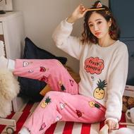法兰绒睡衣▬米奇珊瑚絨卡通睡衣女冬加厚保暖法蘭絨甜美可愛秋冬季家居服套裝