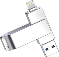 3-in-1 Flash Drive 128GB USB 3.0 Flash Drive Touch ID Protected, Compatible for iPad, iPhone 6/6s/6s Plus, 7/7s/7s Plus, 8/8 Plus, X/Xs/Xs max/Xr, Password for Old Android Smart Phone/Tablet